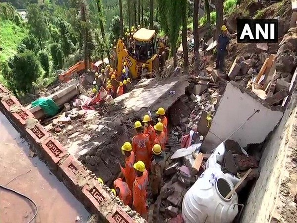 Building collapse site in Solan, Himachal Pradesh on July 15. Photo/ANI