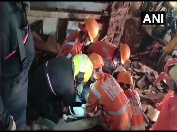 Rescue operations are on at the area where the portion of a building collapsed earlier in the day.