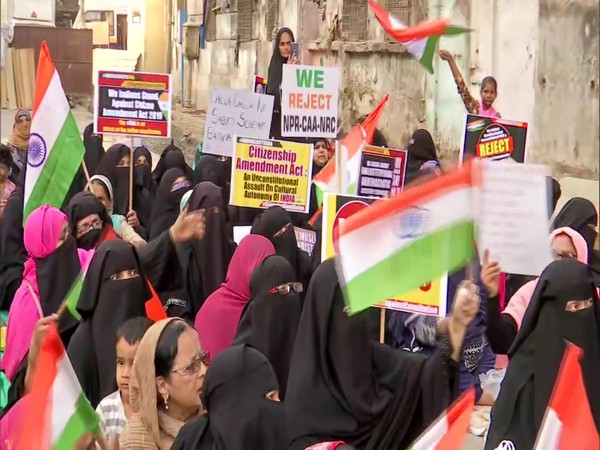 Scores of women protested against the CAA, NPR, NRC in Morland Road area Mumbai on Monday . Photo/ANI