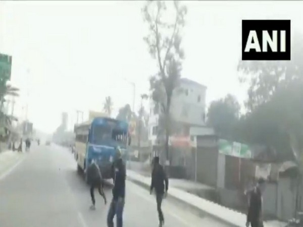 A bus was vandalised during Bharat Bandh on Wednesday in Cooch Behar