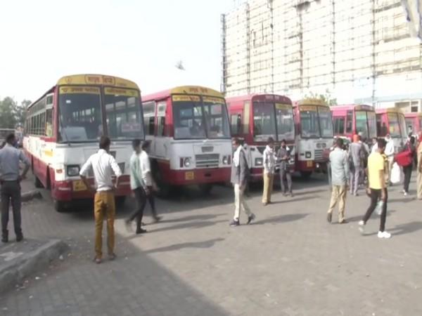 A visual of buses at Kaushambi Bus Depot. (Photo/ANI)