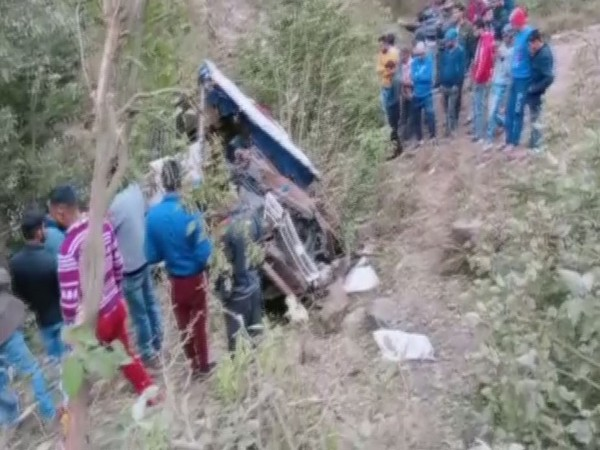 Visuals from the scene where bus crashed in Jammu and Kashmir's Rajouri district on Thursday