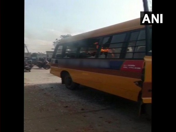 A visual from the incident at Nellore when locals set the school bus on fire on Thursday