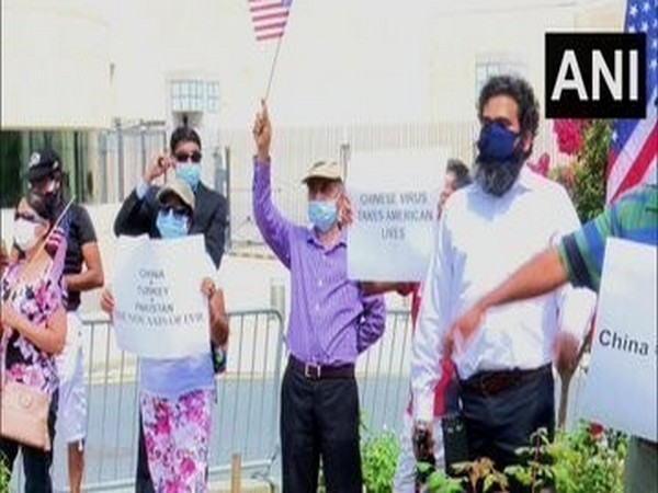 Indian community stages protest outside Chinese Embassy in Washington on Saturday