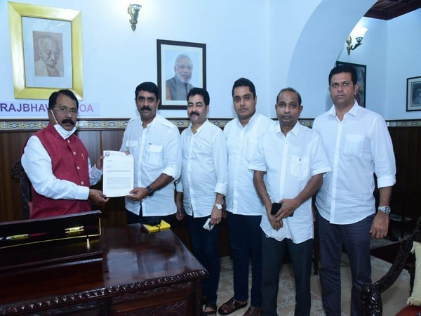 A delegation of Goa Forward Party meets Governor P S Sreedharan Pillai at Raj Bhavan in Panaji on Saturday.