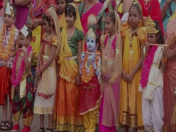 Children dressed up as Lord Krishna and Radha on the occasion of Janmashtami in Kochi in Kerala on Saturday. Photo/ANI