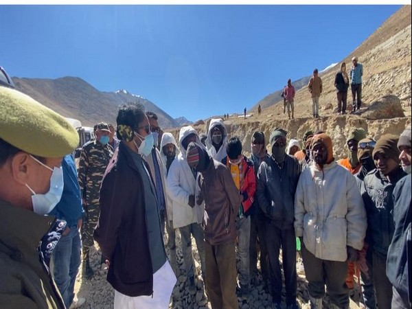 Minister of State for Home Affairs G Kishan Reddy while interacting with road workers in Leh (Photo/ANI)