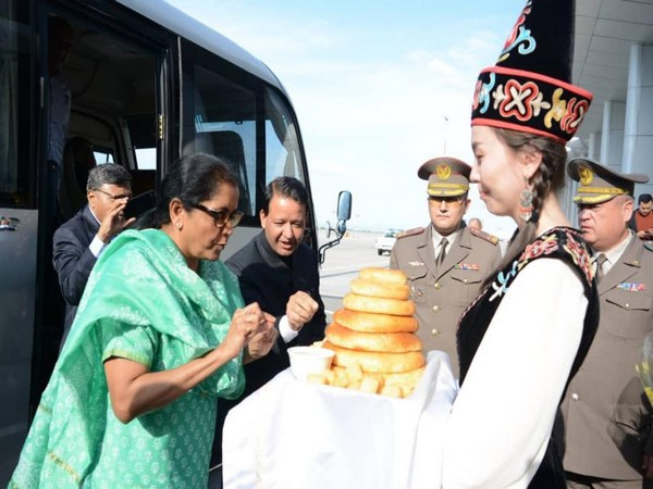 Defence Minister Nirmala Sitharaman was given a traditional welcome at Bishkek, Kyrgyzstan. She arrived here on Sunday to take part in SCO summit.