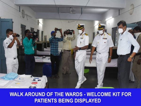Navy officers inspecting the Covid care centre in Odisha's Khurda district (Photo/ANI)