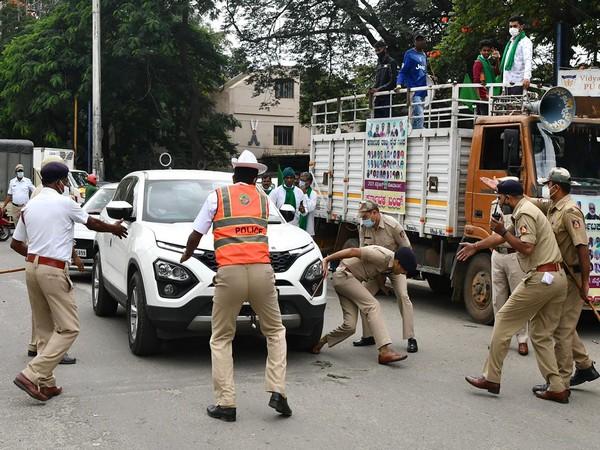 Visual of a car running over Bengaluru DCP Dharmendra Kumar Meena (Photo/ANI)