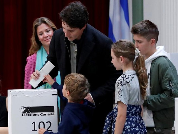 Canadian Prime Minister Justin Trudeau votes in Montreal