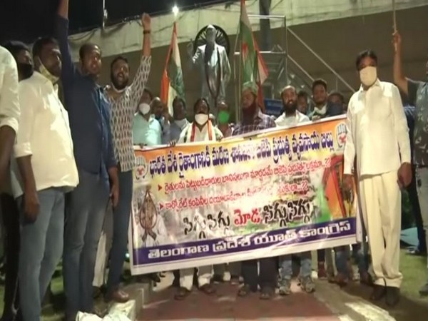 A candle march by Congress in Hyderabad against farm legislations. [Photo/ANI]