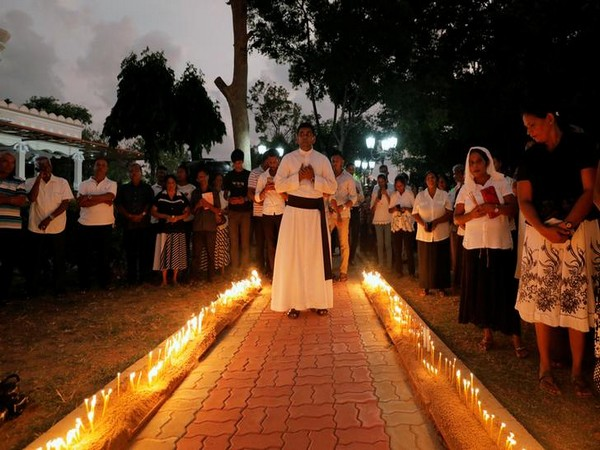 A ceremony at St. Sebastian church, in Negombo,during the first-month remembrance service of the April 21 serial blasts Sri Lanka on Monday