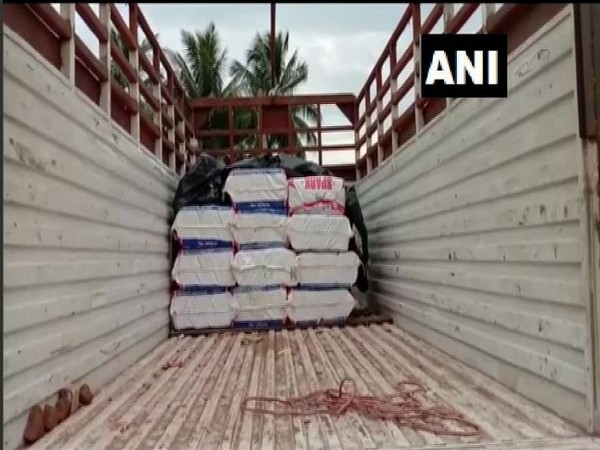 The cache of cannabis was caught from a truck in Visakhapatnam on Tuesday. Photo/ANI