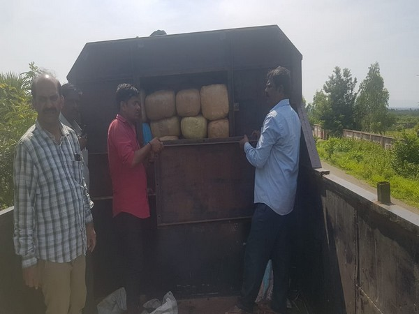Cannabis worth around Rs 1 crore seized from a truck in rural Visakhapatnam. (Photo/ANI)