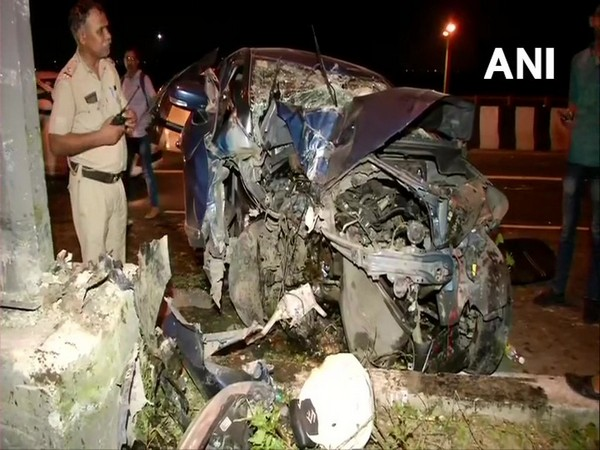 Visual of the car which met with an accident on Friday night.