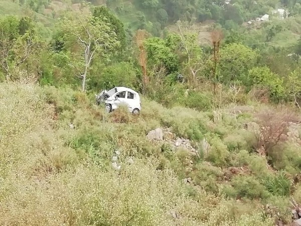 The car that rolled down the hill in Naina Devi on Friday. Photo/ANI