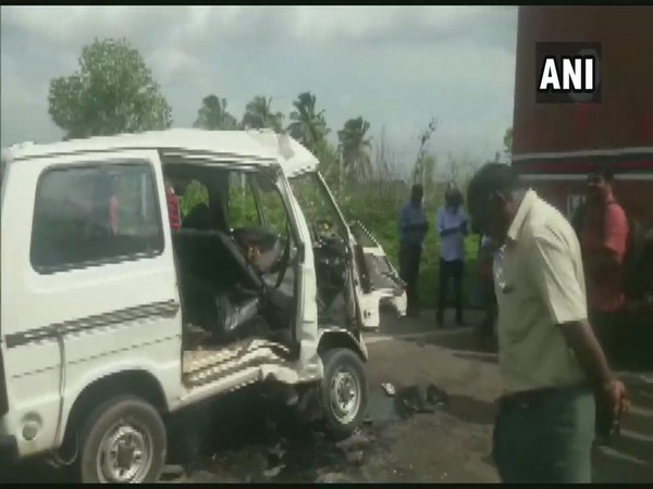 Car accident in Walayar area of Palakkad district on Saturday. Photo/ANI