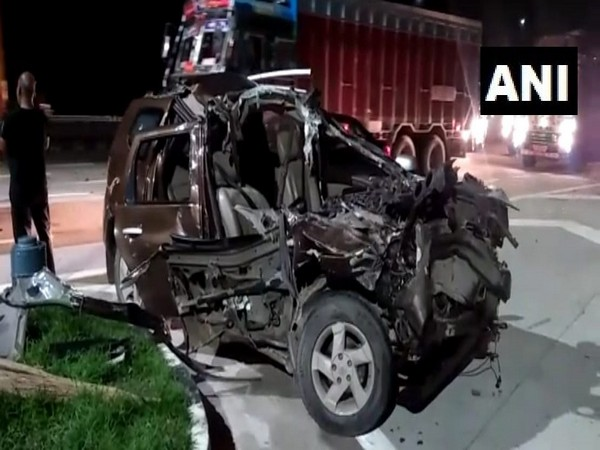 Visuals of car which was hit by truck.