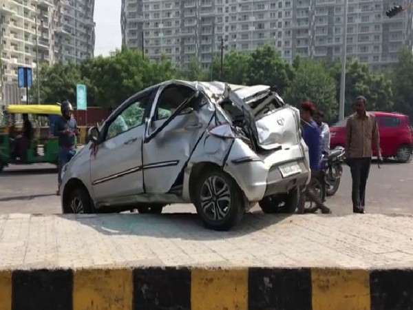 Car accident in Noida sector- 49, which took place on Sunday morning. Photo/ANI