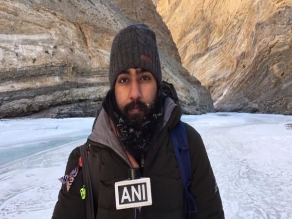 Abhiuday, a tourist at the Chadar Trek in Ladakh. (Photo/ANI)