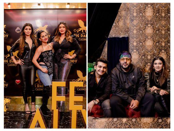 [In Pic. L to R- Sonali Raut, Lizaa Malik, Gizele Thakral, Big Daddy Director Lakhram Goyal, Badshah & Aastha Gill]