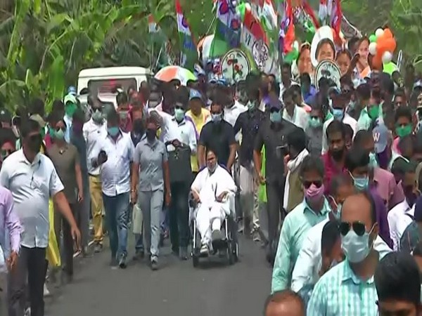 Visuals from West Bengal Chief Minister Mamata Banerjee's roadshow in Nandigram on Monday. (Photo/ANI)
