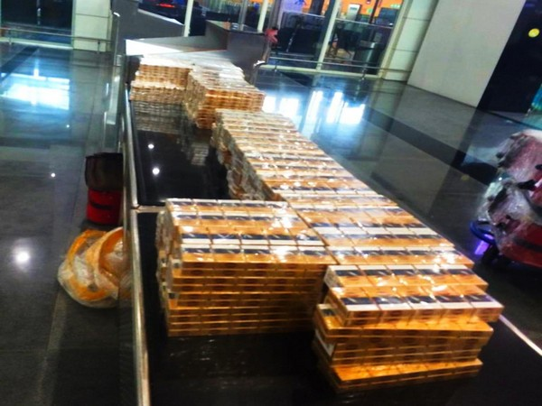 23,310 packets of cigarettes seized at Coimbatore Airport . Photo/ANI