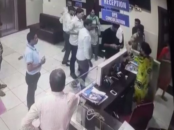 A still from the CCTV footage in which the doctor was seen assaulting the complainant. (Photo/ANI)