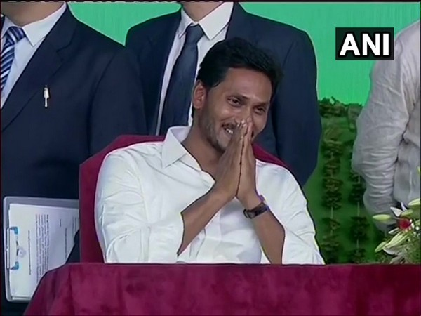 YSRCP chief Jagan Mohan Reddy at his swearing-in ceremony at Vijayawada.