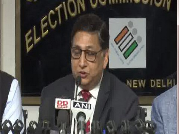 Deputy Election Commissioner Umesh Sinha addressing a media briefing on Tuesday