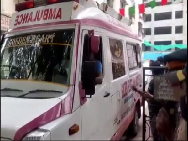 Ambulance at the residence of Shiv Sena leader Anandrao Adsul in Mumbai on Monday. (Photo/ANI)