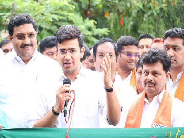 BJP MP Tejasvi Surya address a gathering in Vijaynagar on Monday. Photo/ANI