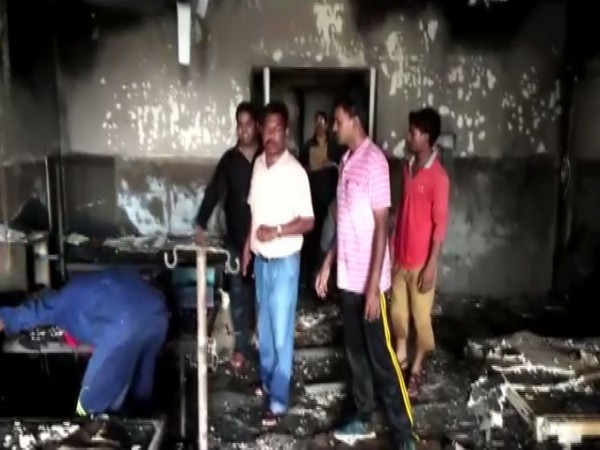 Visuals of hospital where fire was broke out on Sunday morning in Dantewada, Chhattisgarh.