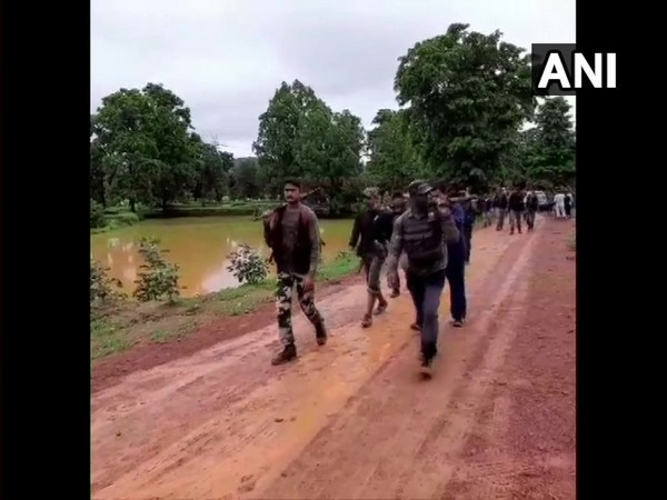 Visuals of security forces in Rajnandgaon area on Saturday. Photo/ANI