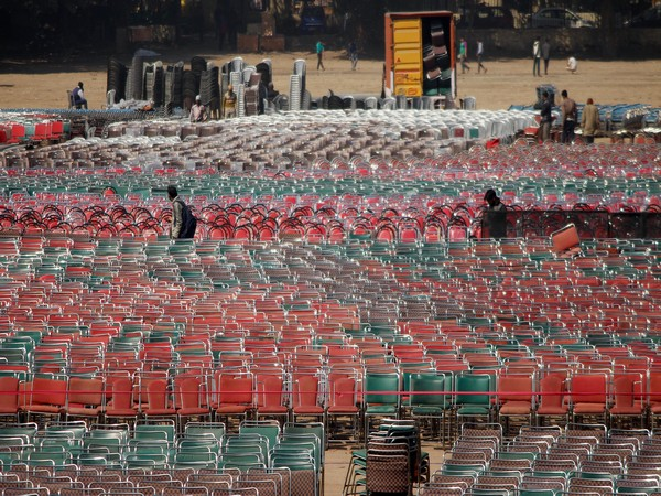 Preparations at Ramlila Ground in the last phase on the eve of oath taking ceremony of Arvind Kejriwal on Saturday. Photo/ANI