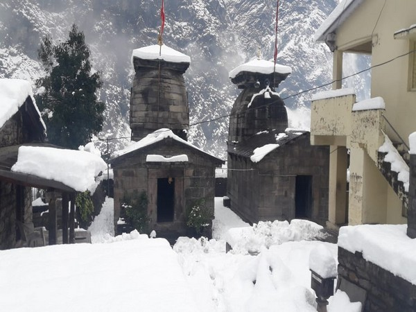 Yogisthan Badri Mandir in Chamoli, Uttarakhand wears thik layer of snow after heavy snowfall in the area