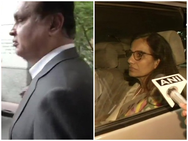 Videocon Chairman Venugopal Dhoot and former ICICI Bank MD and CEO Chanda Kochhar leave after questioning by ED in connection with the ICICI Bank-Videocon loan case in New Delhi on Friday. Photo/ANI