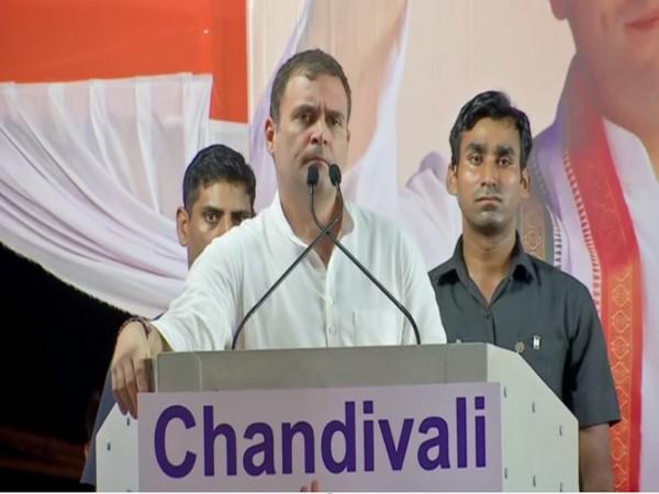 Congress leader Rahul Gandhi address a political rally in Mumbai on Sunday. Photo/ANI