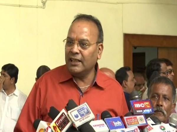 BJP leader Ajay Chandrakar speaking to mediapersons in Raipur on Thursday. (Photo/ANI)