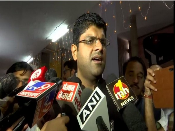 Dushyant Chautala speaking to reporters in Chandigarh on Tuesday. Photo/ANI