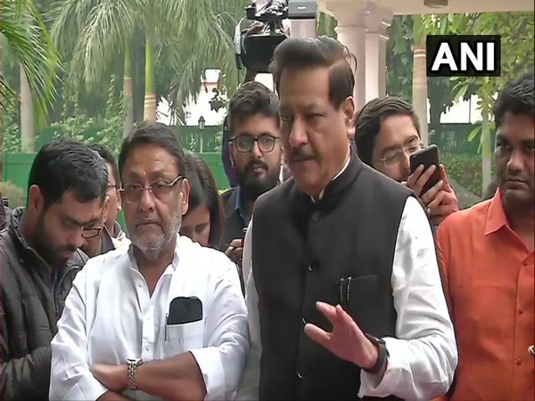 Congress leader Prithviraj Chavan and NCP leader Nawab Malik, left, talking to media persons in New Delhi on Thursday. Photo/ANI