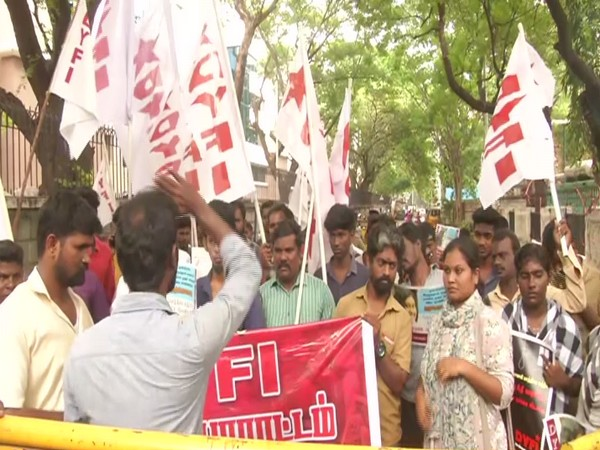 Democratic Youth Federation of India (DYFI) protest at Shastri Bhavan in Chennai. Photo/ANI