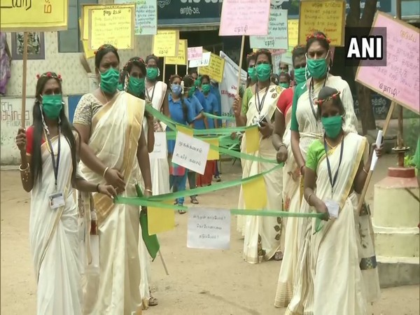 """Members of the transgender community took to Chennai streets to organise a """" Avoid Fear: Corona Awareness"""" rally on Saturday. (Photo/ANI)"""