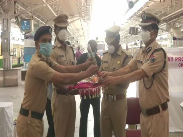 31 RPF personnel who recovered from COVID-19 were welcomed at Chennai Central suburban station on Monday. (Photo/ANI)