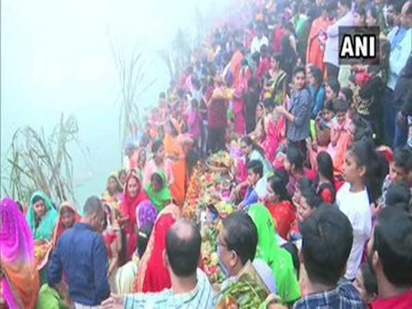 Devotees gather at Suryakund Dham in Gorakhpur to perform the rituals of Chhath puja.