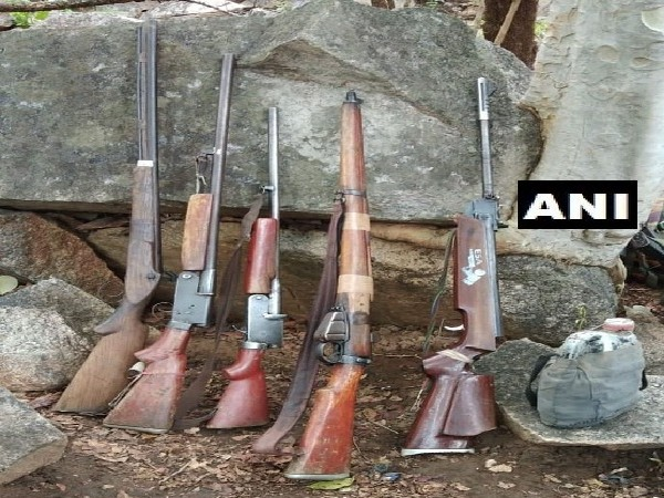 Arms and ammunition recovered from Naxals in Rajnandgaon, Chhattisgarh on Friday. Photo/ANI