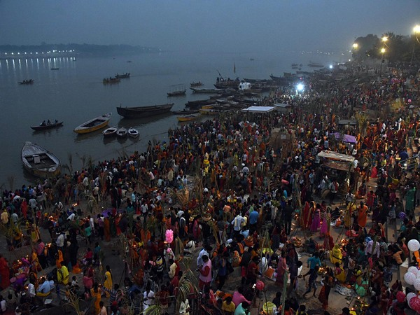 Devotees celebrating Chhath Puja Festival on the bank of the Ganga river in Varanasi in November 2019. (Photo/ANI)