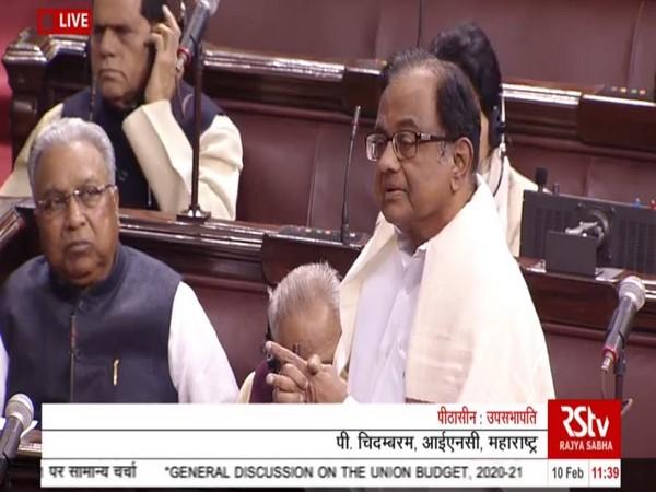 P Chidambaram speaking in Rajya Sabha.