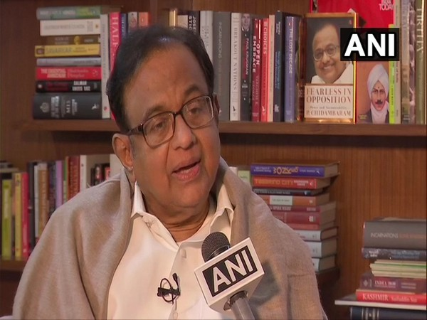 Congress leader P Chidambaram talking to ANI in New Delhi on Saturday. Photo/ANI